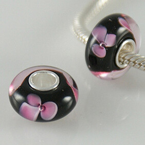 Murano Glass Bead - Black with Pink Flower