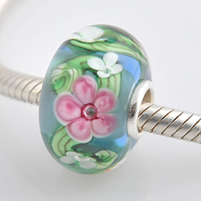 Murano Glass Bead - Colourful Flowers