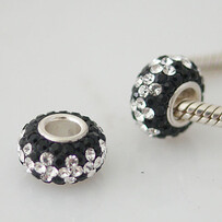 Austrian Crystal Bead - Black and Silver